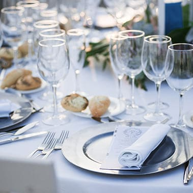 Tables set for an event party or wedding reception.