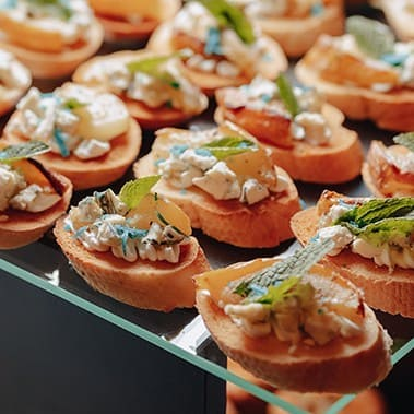 delicious festive buffet with canapés and different delicious m